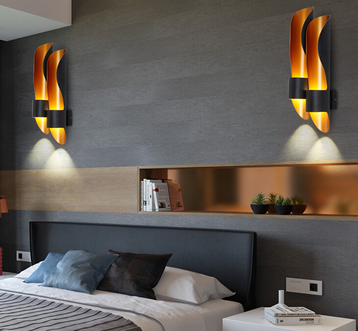 Nordic Aluminum tube wall lamps golden luxury creative hallway lamp Single/double pipe bedroom bedside sconce light free shipping nordic style copper wall lamp single double head hallway light bedroom brass glass wall sconce ac 100% guaranteed