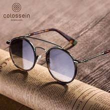 e62d20cbc936 (Ship from US) COLOSSEIN Round Sunglasses Women Retro Glasses UV400 Fashion  Sunglasses Double Nose Bridge Metal Acetate Frame Eyewear Tortoise