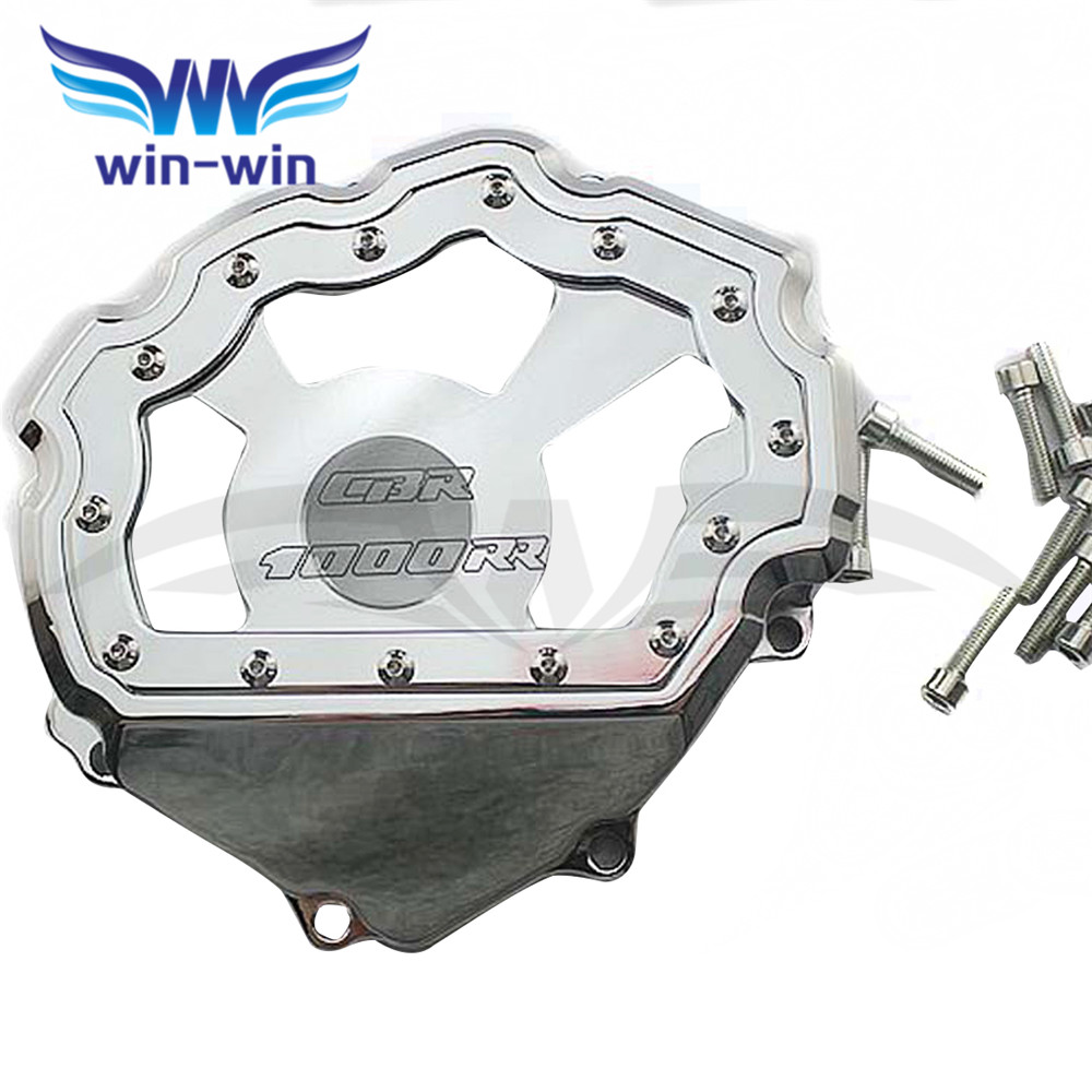 motorcycle parts  engine stator cover aluminum engine stator crank case cover  For honda CBR1000RR 2008 2009 2010 2011 2012 2013 for yamaha yzfr6 yzf r6 2006 2007 2008 2009 2010 2011 2012 2013 2014 motorcycle engine stator cover chrome left side