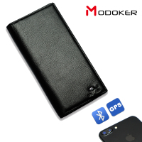 Modoker High Quality Genuine Leather Men Wallets Anti lost with Bluetooth USB Charging Smart Purse