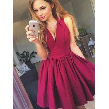ce1b3b461 Corto vestidos de fiesta para niñas de cuello en V negro rojo Azul Real  Popular Junior corto 2019 línea primer vestido de formatua