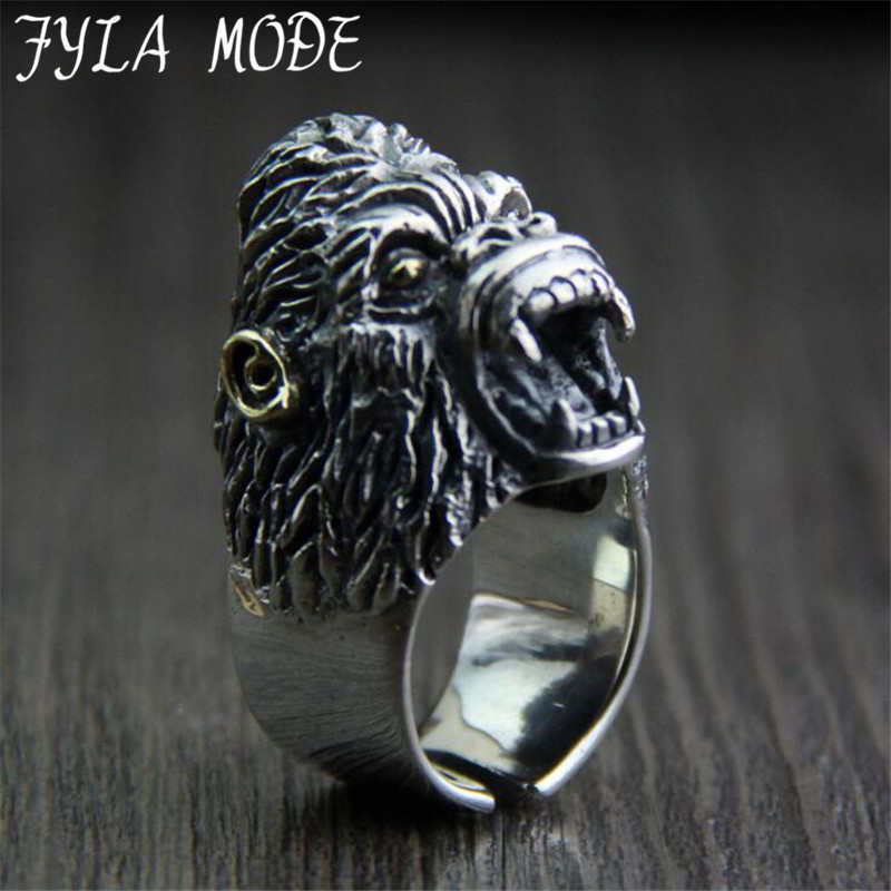 S925 Sterling Silver Jewelry Thai Silver Men's Domineering Ring Retro Personality Monkey Apes Rise Ring Ape ape 28MM Width 31.5G декор ape ceramica lord renoir mix 1 20x20