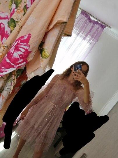 Spring Autumn New Female O Neck Stars Sequined Mesh Shiny Fairy Dress Women Elegant Bling Gauze Princess Puff Dresses photo review