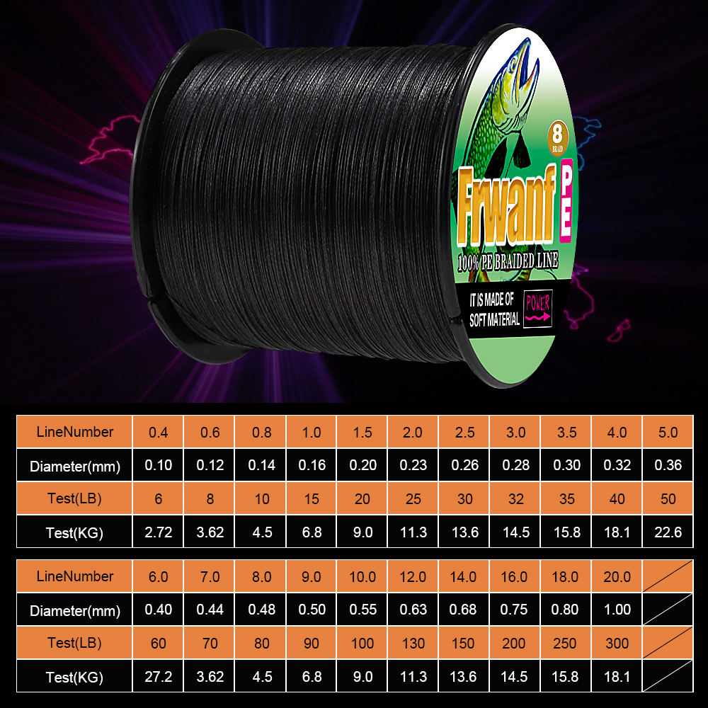 Frwanf PE Braid 8 Strands 300M Braided Fishing Line 8 Threads Super Strong Multifilament Line 300M Fishing Braid 15-100LB new aconfishing brands pe supper strong braided fishing line 300m 0 10mm 0 55mm spectra sea fishing 6lb 80lb braid wires