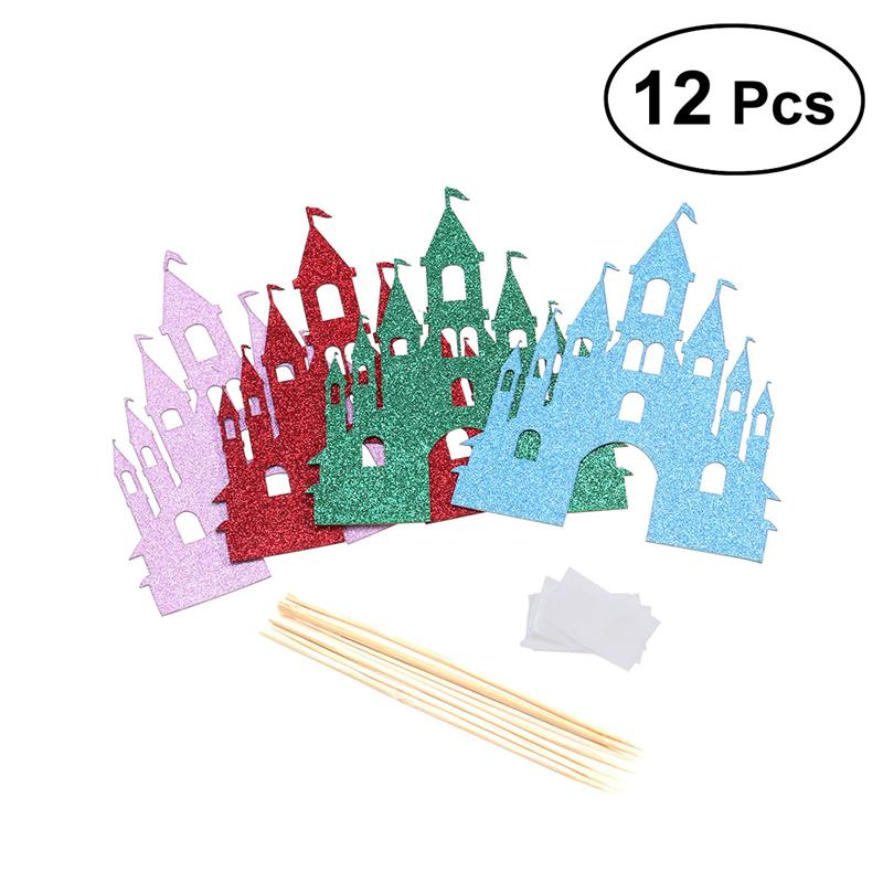 Party-Favors-Supplies Halloween Decoration Cake-Cupcake Glitter Assorted-Colors 12pcs