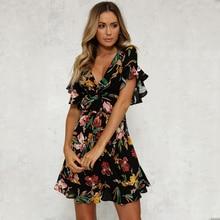 цена на Summer Dress 2018 Women Sexy Deep V-Neck Black Flower Print Dresses Hem Folds Bohemian Style Belt Mini Ruffle  Beach Dress