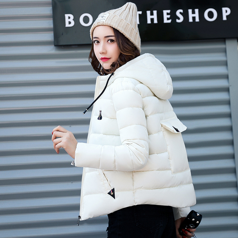 2018 New Fashion Women Autumn Winter Hooded Jackets Casual Cotton Coat   Parkas   Wadded Hooded Slim Pocket Short Outwear   Parkas