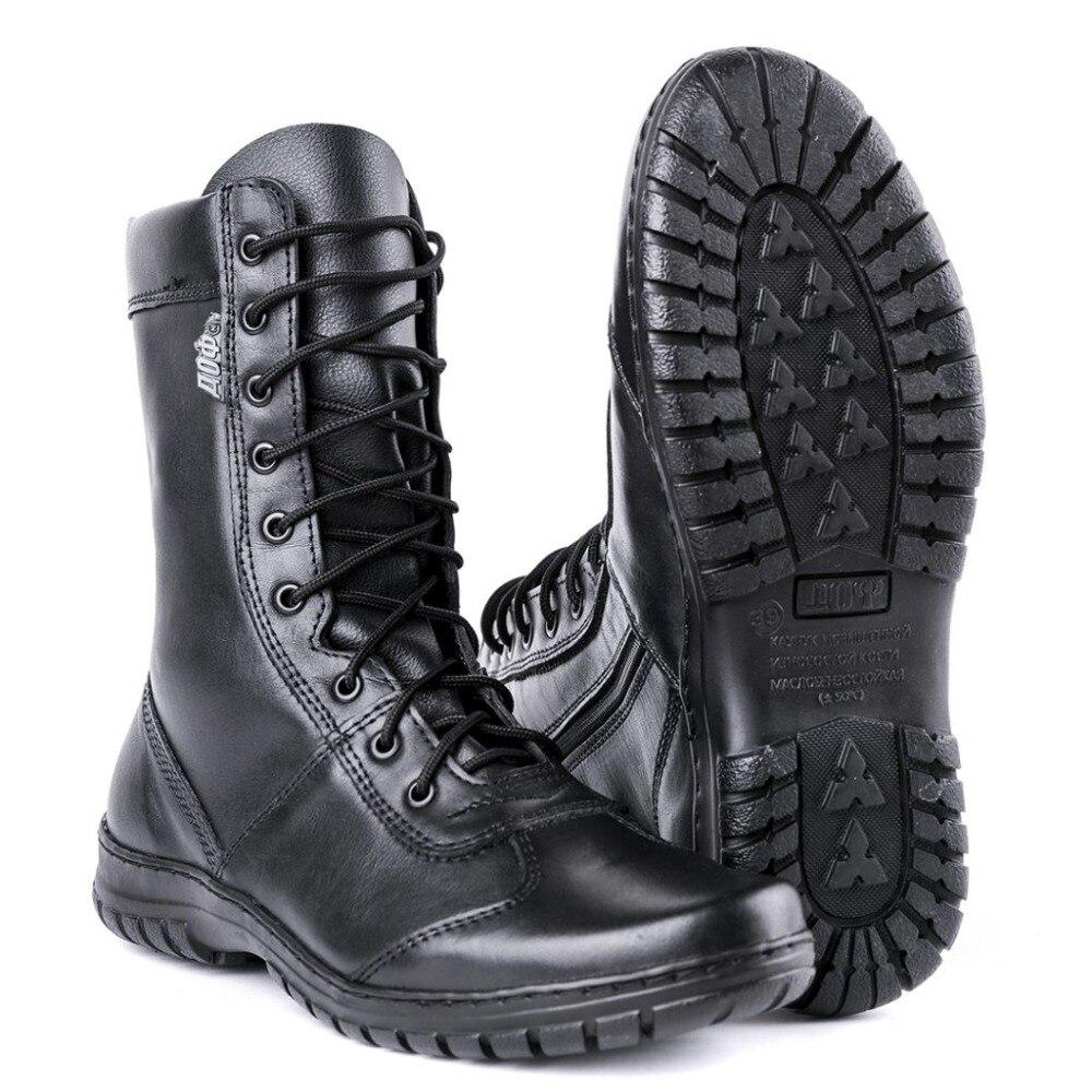 Ankle boots de couro genuíno lace-up exército preto homens sapatos altos planas botas militares 5023/11WA