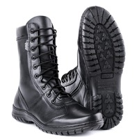 genuine leather lace up black army ankle boots men high shoes flat military boots 5023 / 11WA