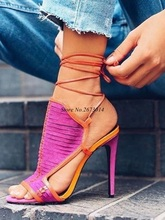 Women Sandals Thin High Heels Ankle Strap PeepToe Shoes Mixed Color Narrow Band Size 35-47 2019 New
