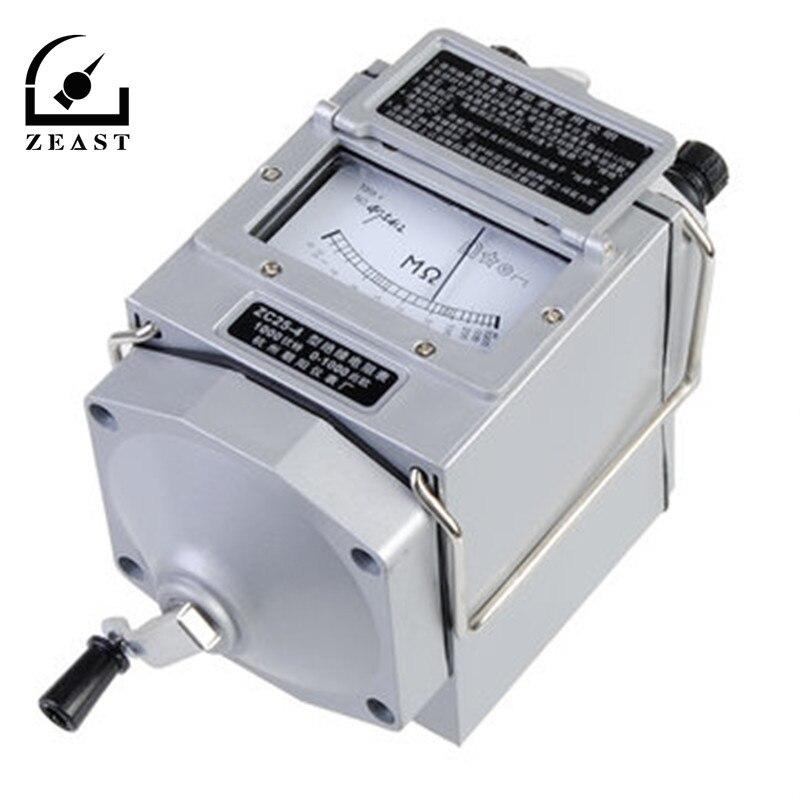 0-1000 M Ohm Isolamento Megohm Tester Medidor de Resistência Megger Megohmmeter Com Multímetros Probe Chumbo ZC25-4 1000 V