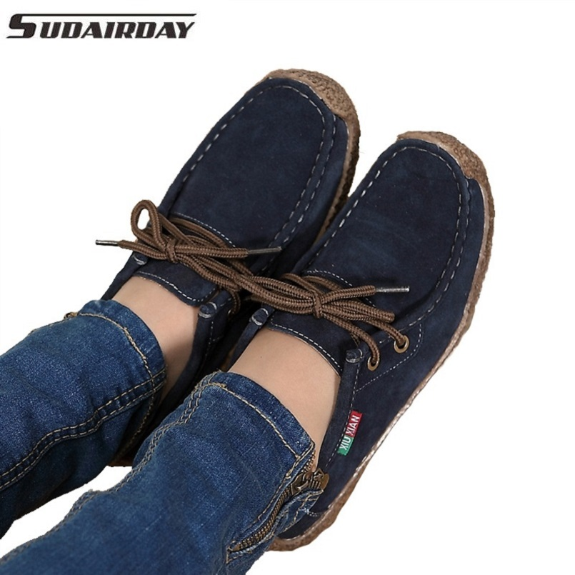 2017 Spring Women Genuine Leather Shoes Woman Hand Sewn Suede Leather Flats Cowhide Flexible Boat Shoes