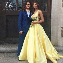 Sexy Tiefe V ausschnitt Lange Stain A linie Abendkleider Open Back Frauen Formale Prom Kleid mit Taschen Robe Demoiselle Dhonneur