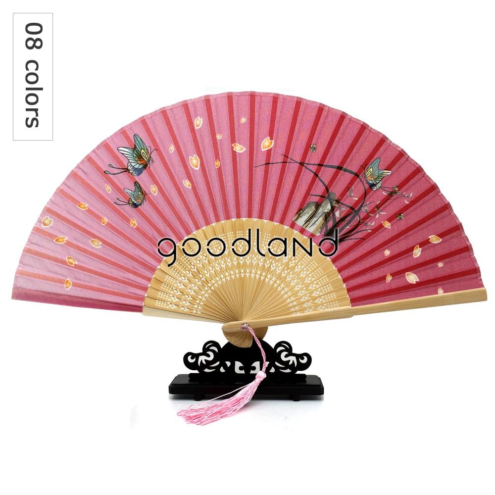 Free Shipping 30pcs Silk Flower Wedding Favor Fan Bamboo Pocket Fan ...