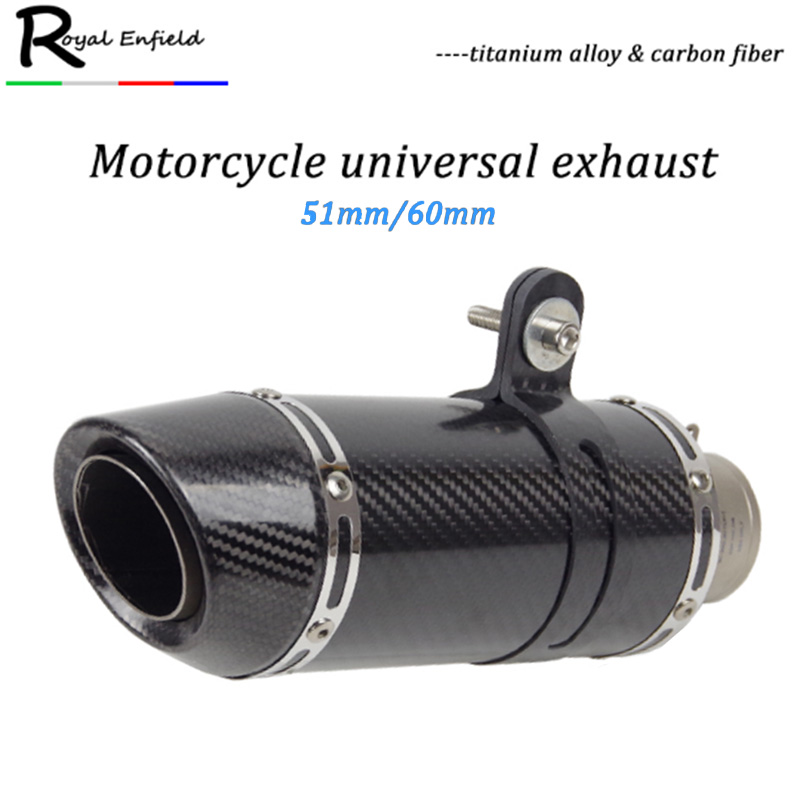 51mm/ 61mm inlet Universal Motorcycle Exhaust Pipe Slip-on REAL Carbon Fiber Titanium Alloy for HONDA R1 R3 R6 FZ6 ATV Dirt bike51mm/ 61mm inlet Universal Motorcycle Exhaust Pipe Slip-on REAL Carbon Fiber Titanium Alloy for HONDA R1 R3 R6 FZ6 ATV Dirt bike