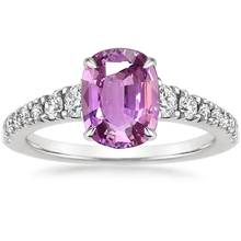 ANI 18K White Gold (AU750) Women Wedding Ring Certified Natural Pink Sapphire Oval/Rectangle Shape Engagement Diamond Ring цена 2017