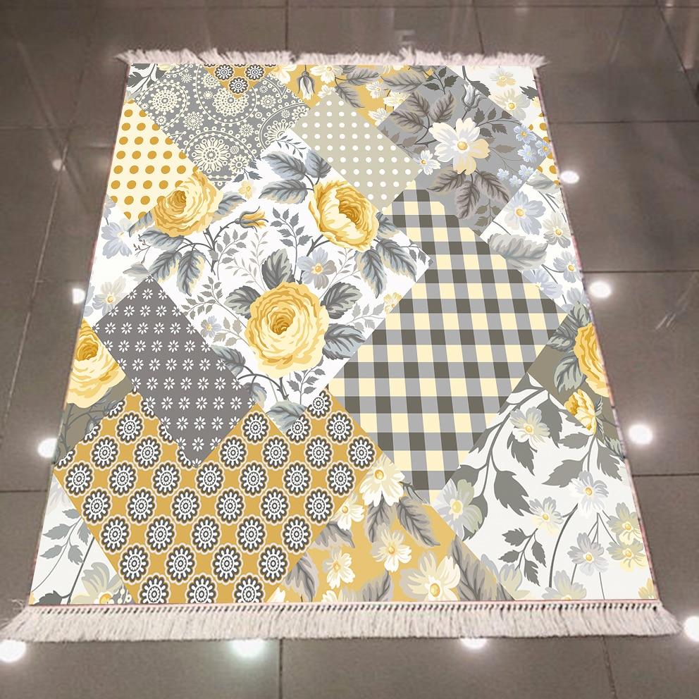 Else Gray White Yellow Flowers Geometric Patchwork 3d Print Microfiber Anti Slip Back Washable Decorative Kilim Area Rug Carpet