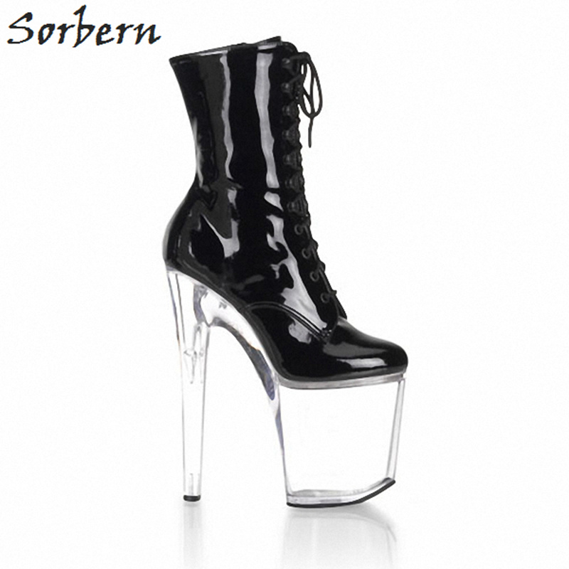Sorbern Transparent Perspex High Heels 20Cm Ankle Boots Custom Wide Fit Leg Ladies Boots Fetish High Heels Extreme Boot Sales
