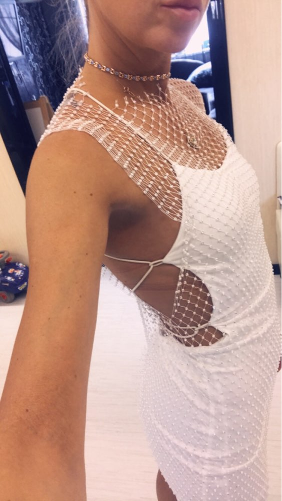 Festival Queen Bling Rhinestones White Black Mesh Hollow Out Dress Sexy Sleeveless Fishnet Bodycon Women Summer Party Dresses photo review