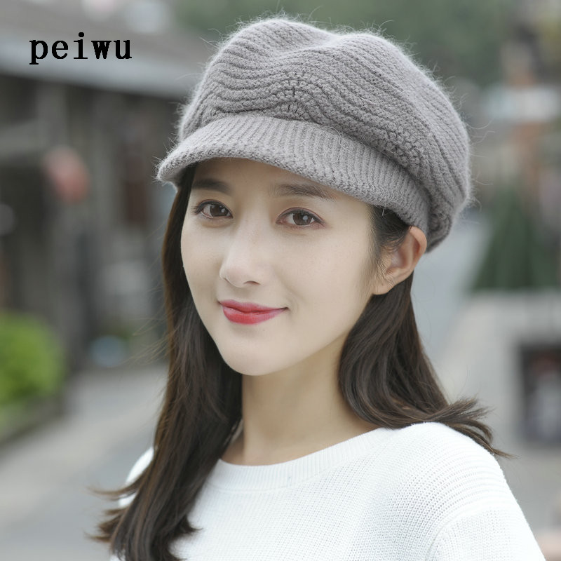 PEIWU Fall Winter Beanies Knitted Hat Rabbit Fur Cap Snapback Cap Lady Female Brim stripe Skullies Women Hats Gorro skullies female rabbit ear hat hat women s hair cap fashion cap winter cap fpc012