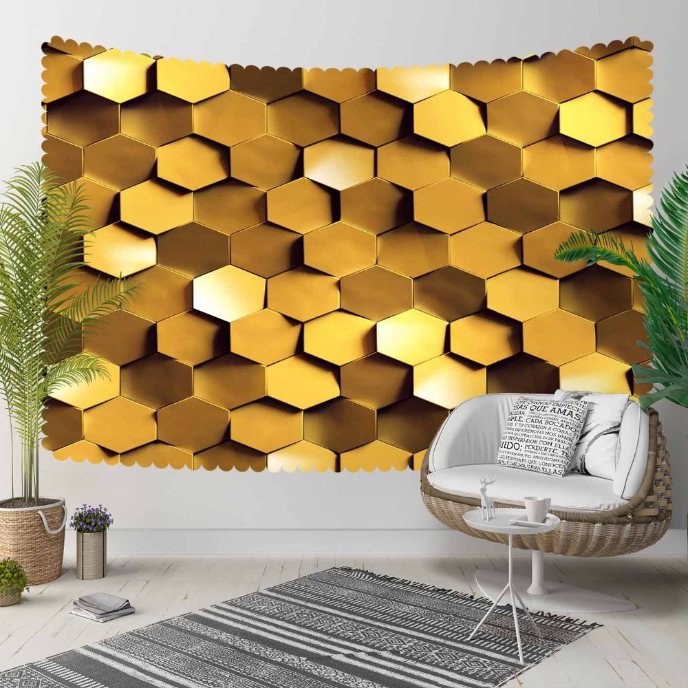 Else Golden Yellow Brown Hexagon Geometrics Modern 3D Print Decorative Hippi Bohemian Wall Hanging Landscape Tapestry Wall Art