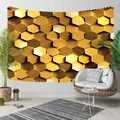 Else Golden Yellow Brown Hexagon Geometrics Modern 3D Print Decorative Hippi Bohemian Wall Hanging Landscape Tapestry Wall Art