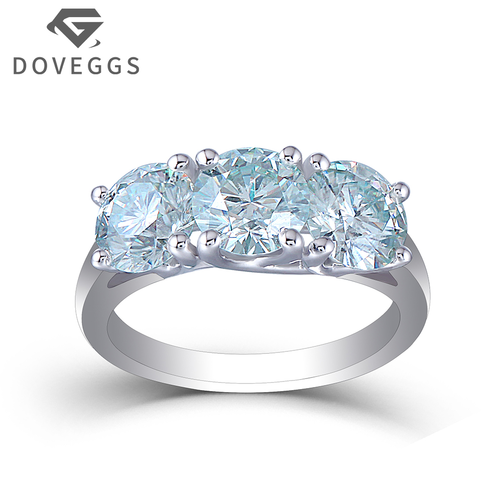 DOVEGGS 3CTW 6.5mm Round Brilliant Cut Moissanite BluePlatinum Plated Silver 2.2mm Band Width Three Stone Engagement Ring new arrival awesome pink silk metal stiletto high heel shoes women fancy metal branch decoration thin heel pointy pumps hot sell