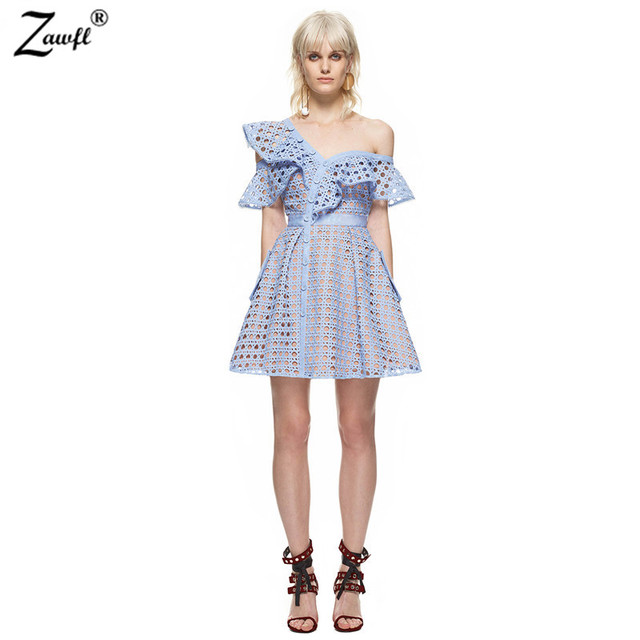 46d5a2c0e42 ZAWFL 2019 Fashion Self Portrait Runway Summer Dress Off Shoulder Blue Lace  Hollow Out Ruffles Women Sexy Party Mini Dress