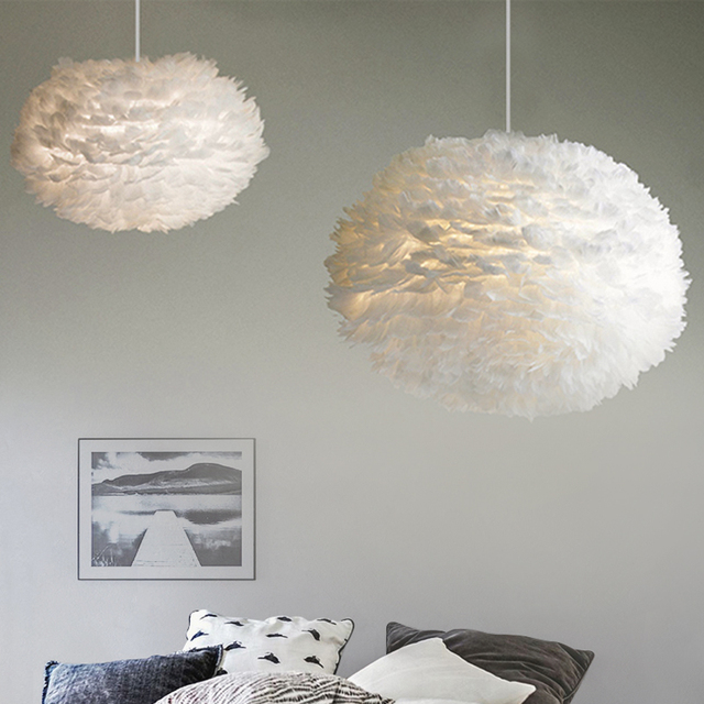 Moderne nordique blanc plume ronde pendentif lumières E27 décoration salle à manger chambre salon maison éclairage lampes