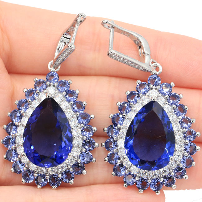 Deluxe Big Heavy 16.6g 18x13mm Iolite Natural Cubic Zirconia 925 Silver Earrings 48x24mm