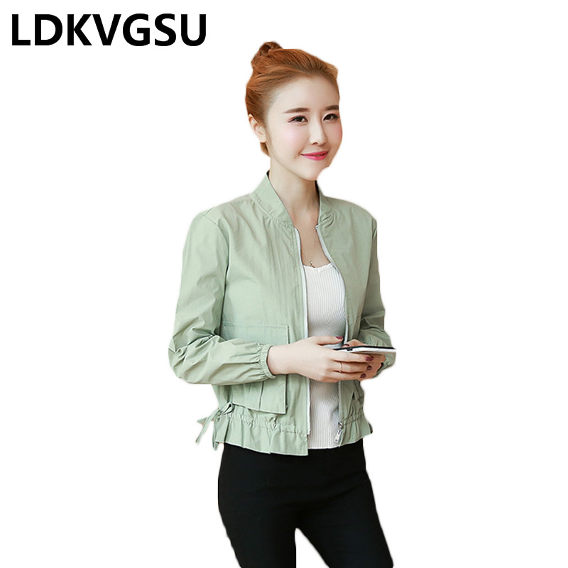 Women Long Sleeve Casual Solid Color Jackets Outerwear 2018 Spring Stand Colloar Loose Fashion Female Short Windbreaker Is453