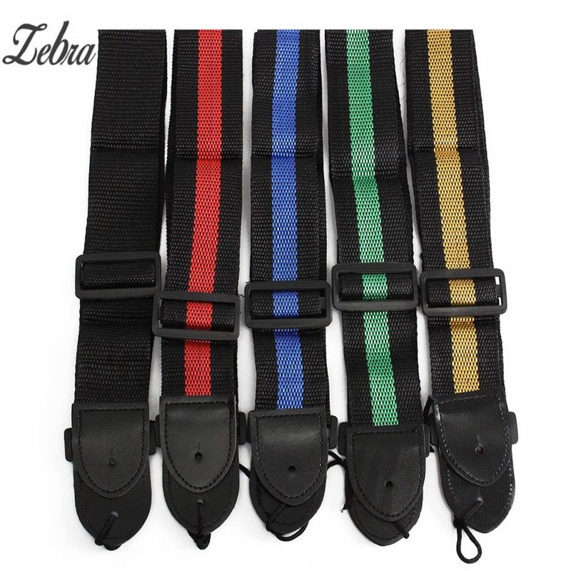 Zebra 120cm Adjustable Durable Nylon Guitarra Guitar Strap Electric Acoustic Bass Guitar Strap Ukulele Belt with PU Leather Ends nylon guitar strap adjustable bass acoustic electric guitar strap belt with leather ends