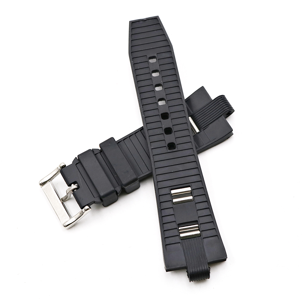 CARLYWET 26 x 9mm Wholesale Black High Quality Silicone Rubber Waterproof Replacement Watch Band Strap Belt in Watchbands from Watches