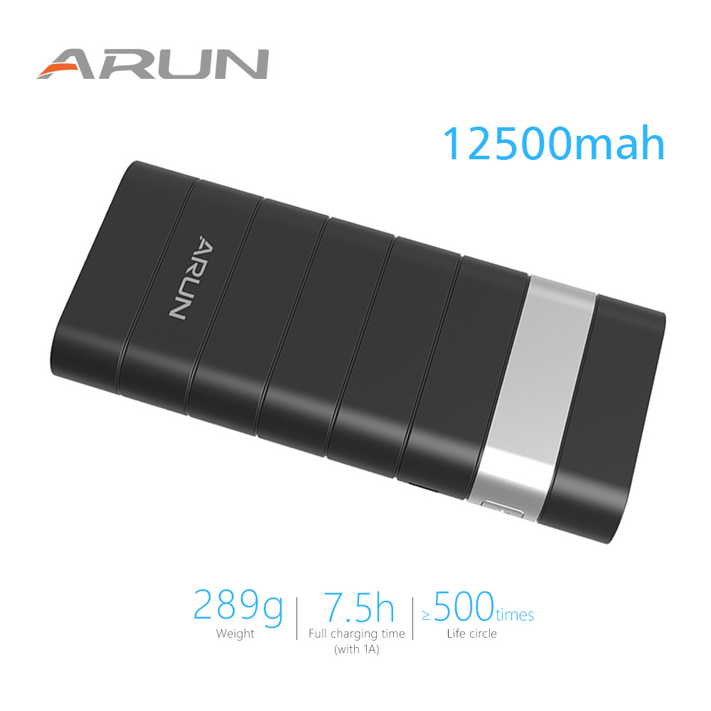 ARUN 12500mah Power Bank External Battery PoverBank 2 USB Powerbank Portable Mobile phone Charger for Xiaomi MI iphone XS huawei