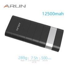 ARUN 12500 mah Мощность Bank внешняя Батарея повербанк 2 USB Мощность банк Портативный мобильного телефона Зарядное устройство для Xiaomi Mi iphone XS huawei