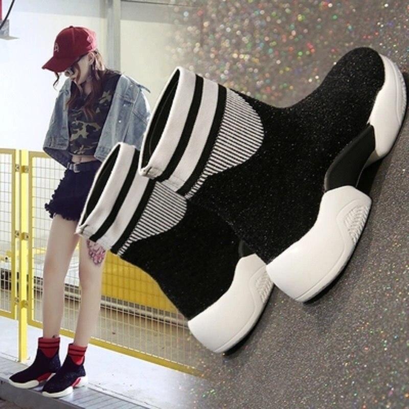 Baskets montantes femme tide 2018 automne nouvelle version coréenne de la mode sauvage personnalité tendance chaussettes chaussures