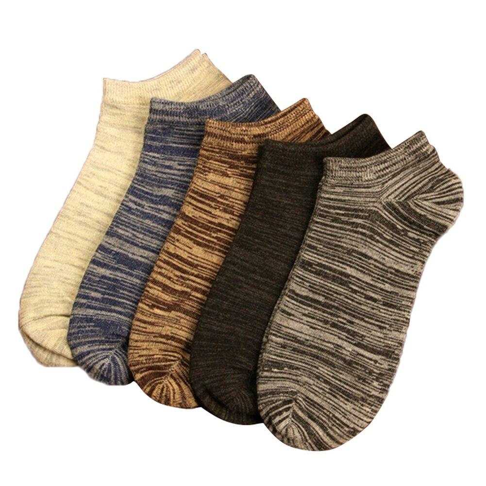 Men Vintage Ankle Socks 5 Pairs Casual Breathable Cotton Socks