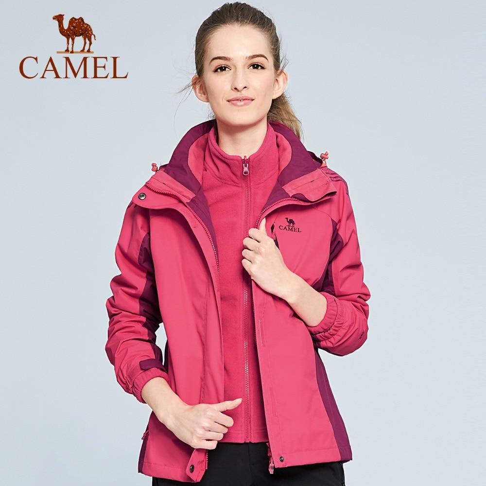 CAMEL Women 3 in 1 Outdoor Hiking Jacket Waterproof Warm Climbing Camping Skiing Windbreaker Thermal Rain