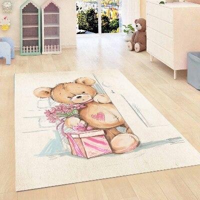 Else Gray Floor Tedy Bears Pink Gift Box Hearts Girls 3d Print Non Slip Microfiber Children Kids Room Decorative Area Rug Mat