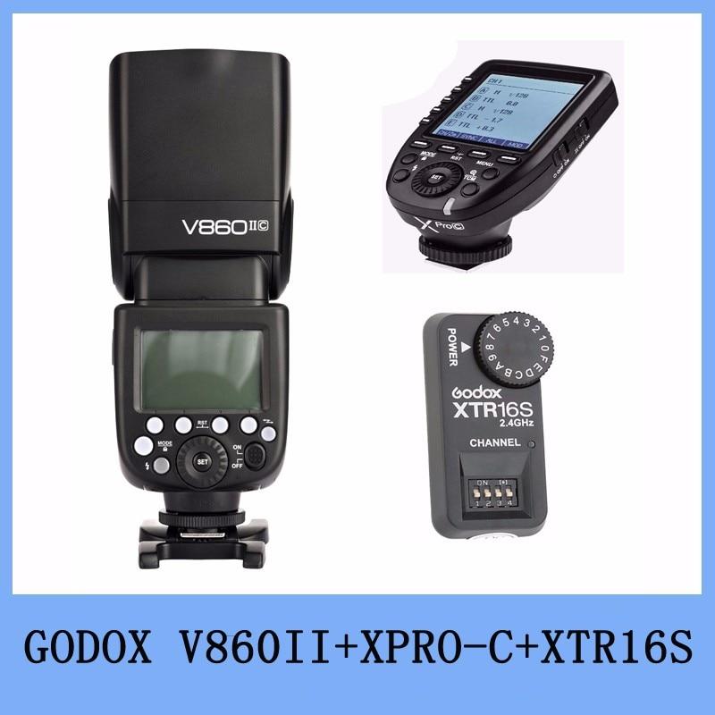 Godox V860II C V860C II E-TTL HSS 2.4G Li-ion batterie Flash pour Canon + Xpro-C TTL sans fil Flash déclencheur + XTR-16S à distance