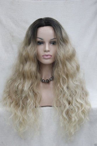 hot quality good synthetic black root to blonde ombre Lace Front wig long Wavy+CAP>>>girls Cosplay wig Free shipping synthetic wigs for black women blonde ombre wig natural cheap hair wig blonde wig dark roots long curly female fair