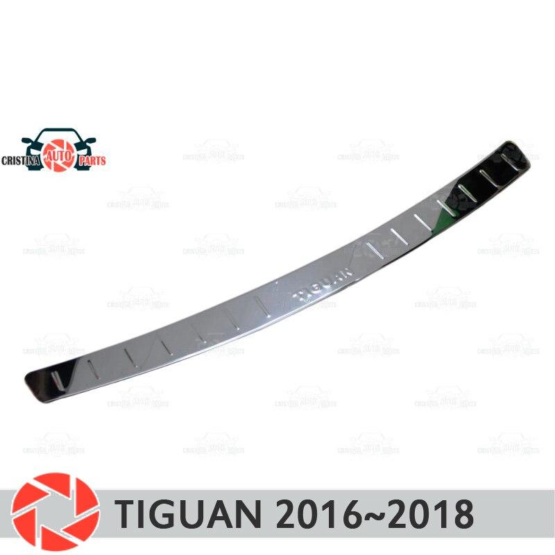 Cubierta de placa de parachoques trasero para Volkswagen Tiguan 2016 ~ 2019 Placa de protección de decoración de diseño de coche accesorios de moldeo