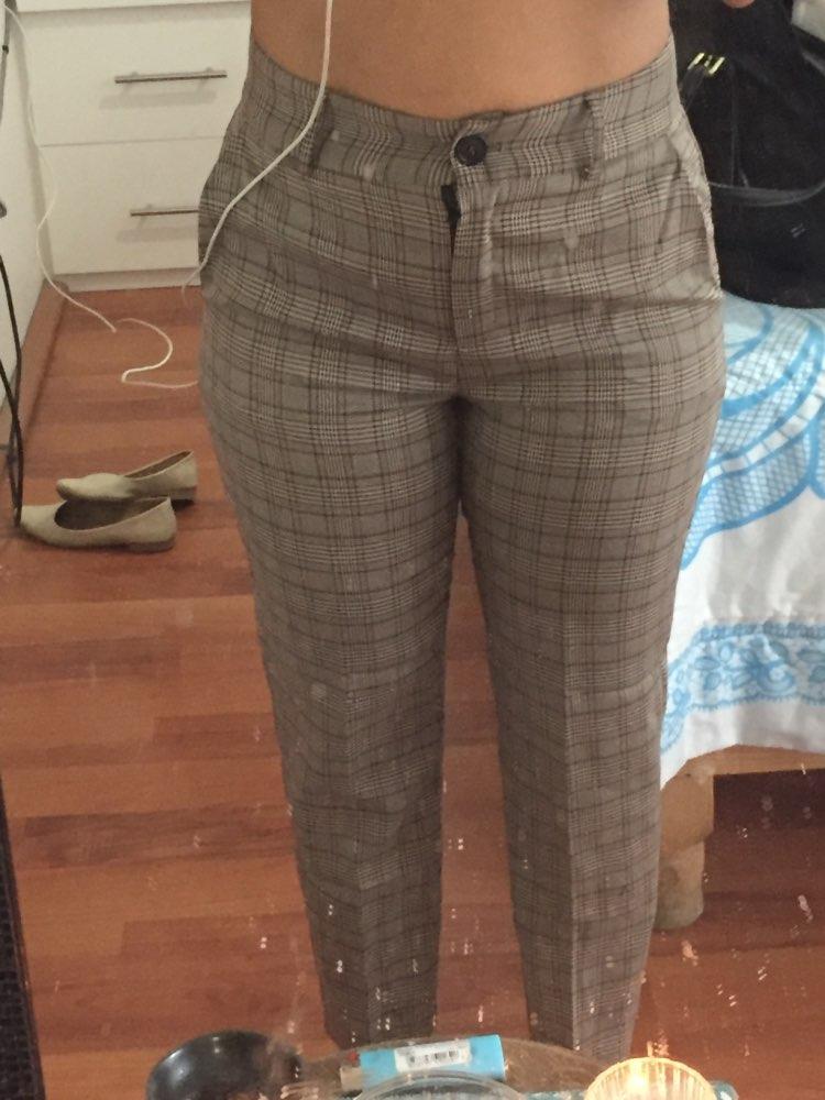 Bella Philosophy  Autumn Winter Plaid Pants Women Casual High Waist Long Harem Pants Female Zipper Office Lady Pants Bottoms photo review