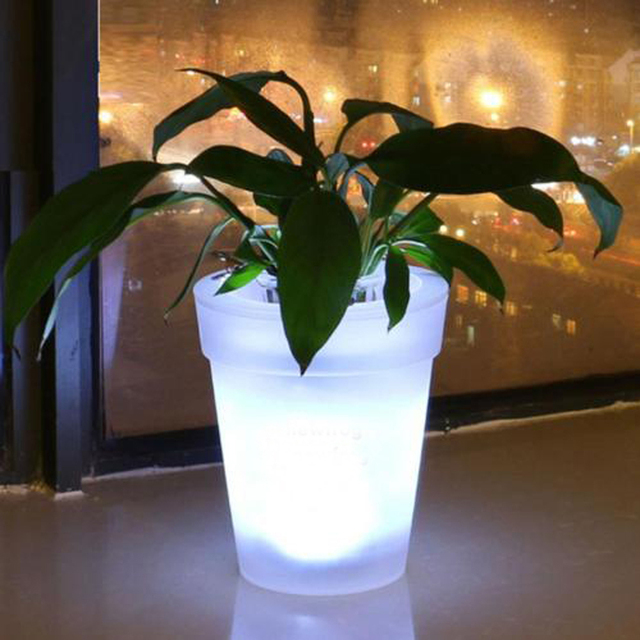 New Flower Vase Led Pot Light Up Plant Illuminated Planter Glowing Conservatory Patio