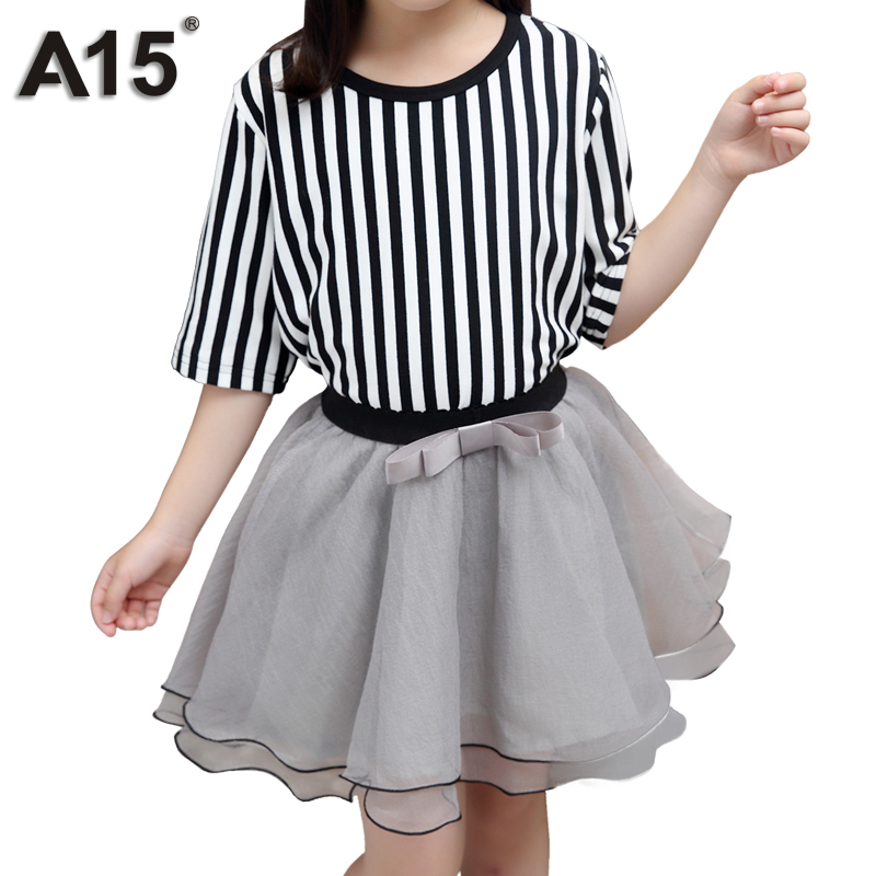 A15 Girls Clothing Set 2018 New Children Clothing Teenager Kids Clothes Striped Short Sleeve T Shirt + Skirt for Size 8 10 12 14 кроватка качалка erbesi amour слоновая кость