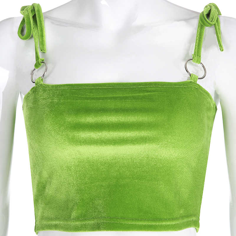 Summer Sexy Camis Women Green Solid Crop Top Sleeveless Shirt Sexy Strappy Slim Lady Bralette Tops Strap Skinny Vest Camisole