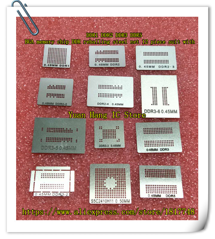 Free Shipping DDR1 DDR2 DDR3 DDR5 BGA memory chip DDR reballing steel net 12 piece suit with free shipping 5s 5s light control backlight boost ic chip lm3534tmx a1 bga 12 feet