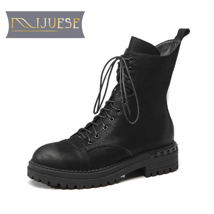 MLJUESE 2019 women ankle boots cow leather lace up short plush winter warm fur platform boots