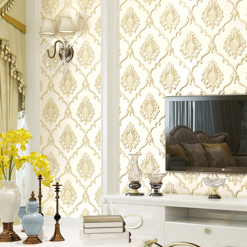 Europe Luxury Damascus Wallpaper 3d Embossed Damask