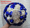 Luxury Pearl Jewelry Rose Wedding Flower Bride Royal Blue White Bridesmaid Bouquet Beaded Bling Brooch Wedding